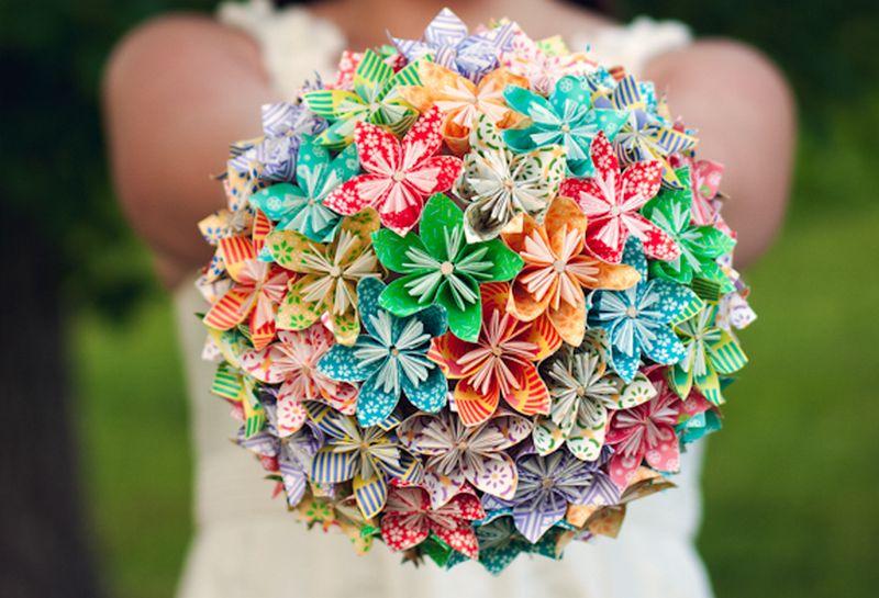 Menyasszonyi csokor origami virágokból