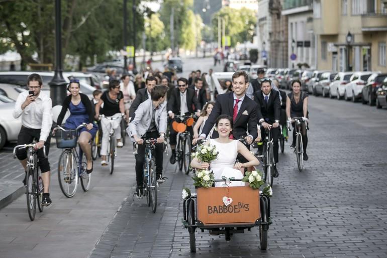 Biciklis esküvő Budapesten