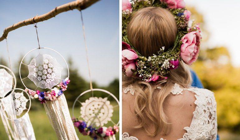 Kerti virágok, csipkék – DIY esküvő a természetben